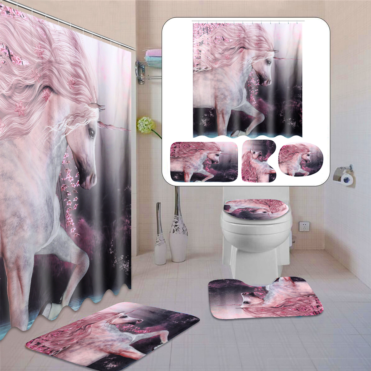 Olive Branch Unicorn Shower Curtain Bath Mat Toilet Cover Rug Bathroom Decor