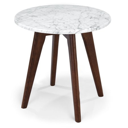 Poly and Bark Riley Marble Round Side Table in Walnut Oak Riley Holliday Furniture