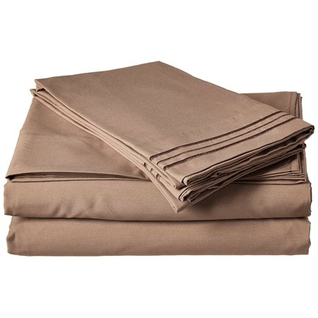 """4-Piece Egyptian Quality Bed Sheet Set with Deep Pockets, California King, Taupe, 1 Flat Sheet (108"""" x 102"""") 1 Fitted Sheet (72"""" x 84"""") and 2 Standard.., By Elegant Comfort"""