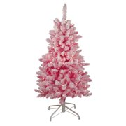 """4' x 29"""" Pink Pre-Lit Flocked Artificial Christmas Tree - Clear Lights"""