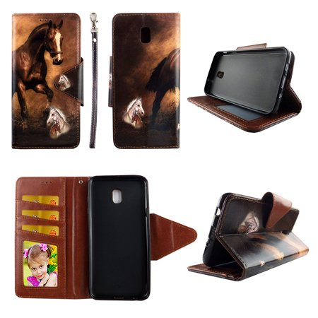 Brown Horse Wallet Case for Samsung Galaxy J7 (2018) / J7 Refine / J7 V 2nd Gen / J7 Star Folio Standing Cover Card Slot Money Pocket Magnetic Closure Fashion Flip Pu Leather