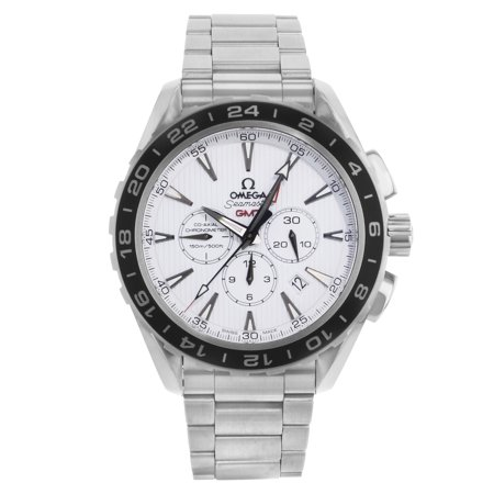Pre-Owned Omega Seamaster Aqua Terra GMT White Dial Steel Mens Watch (Mens Seamaster Aqua Terra Chronometer)