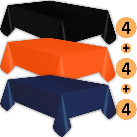 12 Plastic Tablecloths - Black, Orange, Navy - Premium Thickness Disposable Table Cover, 108 x 54 Inch, 4 Each Color](Orange Plastic Table Cover)