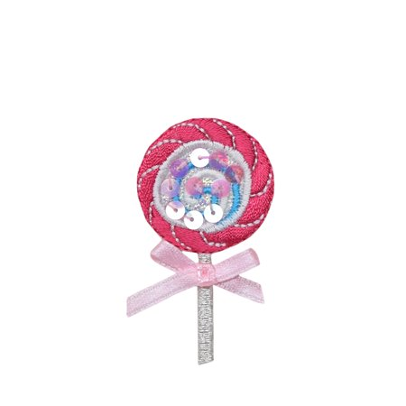 Bow Tie Applique - Sequin Pink Lollipop with Sheer Bow - Iron on Applique/Embroidered Patch