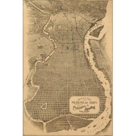 (1870 Birdseye View Of Philadelphia Pa Basic Historic Grid 24X36)