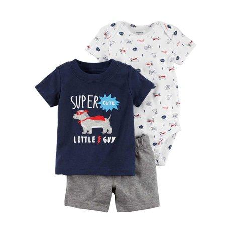 Carters Infant Boys Super Hero Dog Baby Outfits Bodysuit Shirt & Gray Shorts Set - Superhero Outfit Creator