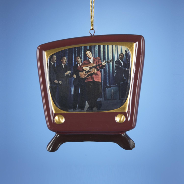 "Pack of 12 Elvis Singing on Retro Porcelain TV Christmas Ornaments 3"""