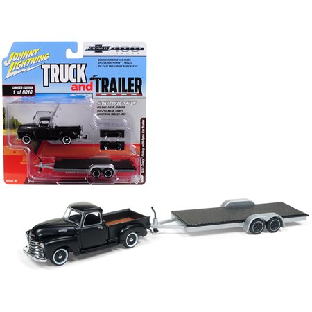 1950 Chevrolet Pickup Truck Matte Black w/ Open Car Trailer Ltd Ed 6016 pieces 1/64 Diecast Model by Johnny