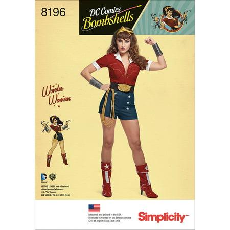 Simplicity DC Bombshells Size 6-14 Wonder Woman Costume Pattern, 1 Each