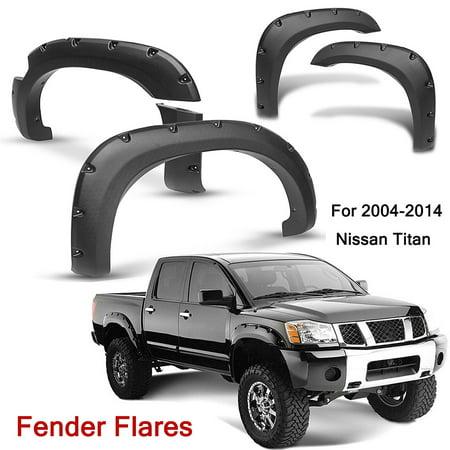 - Car Front and Rear Fender Wheel Flares W/ Lockbox For 2004-2014 blackfender Nissan Titan Black