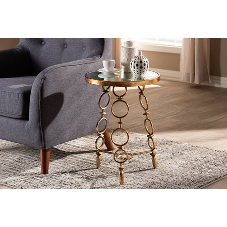 Baxton Studio Inaya Modern and Contemporary Antique Gold Finished Metal and Glass Accent Table