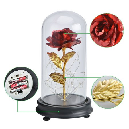 Lee Glass Plates (24K Gold Plated Rose Flower in Glass Dome With LED Light Valentine's Day Gift )