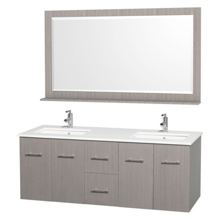 Wyndham collection centra 60 inch double bathroom vanity in gray oak white man made stone for 58 inch double bathroom vanity