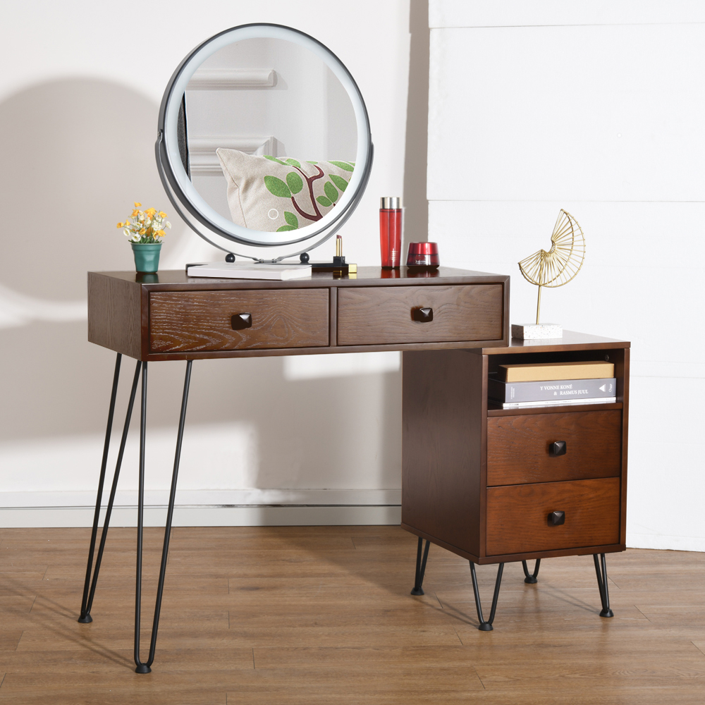 Ubesgoo Vanity Table And Stool Set With Touch Screen Mirror 3 Color Lighting Modes Makeup Desk Storage Cabinet Brown Walmart Com Walmart Com