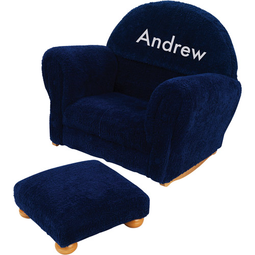 KidKraft - Personalized Blueberry Chenille Rocker and Ottoman, White Block Font Boy's Name