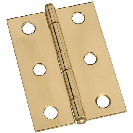 - Stanley 803290 Decorative Button Tip Ornamental Cabinet Hinge, 6 Hole, 2 in L, Solid Brass