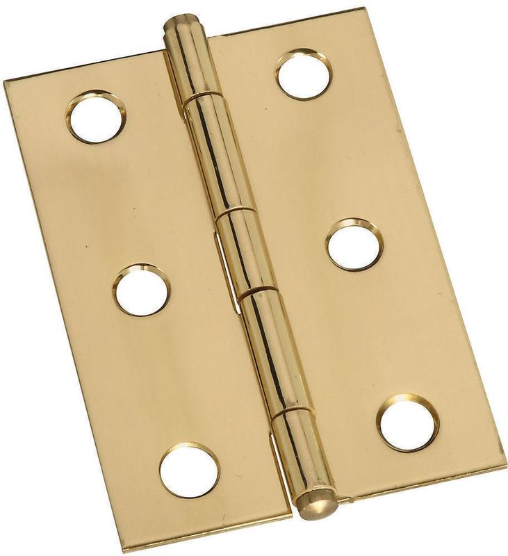 Stanley 803290 Decorative Button Tip Ornamental Cabinet Hinge, 6 Hole, 2 in L, Solid Brass