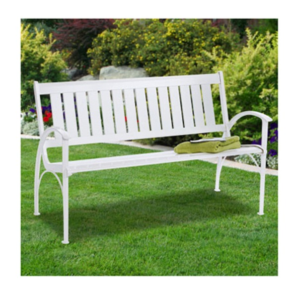 Wht Hd Faux Park Bench