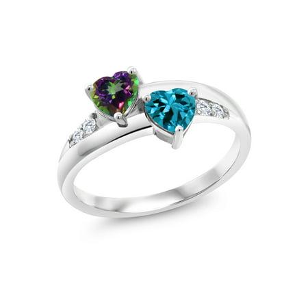 1.23 Ct Heart Shape Green Mystic Topaz London Blue Topaz 925 Silver Lab Grown Diamond Ring
