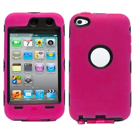 Deluxe Hot Pink 3-part Hybrid Hard Silicone Skin Case CoverWalmartpatible with Apple iPod Touch 4G, 4th Generation, 4th Gen, Brand New Non-OEM.., By