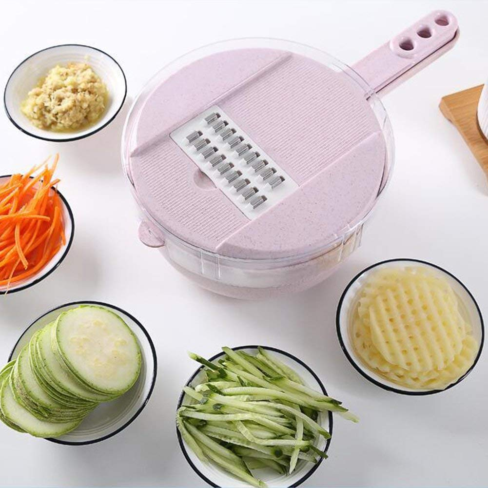 Jeobest 1PC Veggie Chopper Slicer - Kitchen Shredder Slicer - Round Multifunctional Kitchen Shredder Fruit and Vegetable Chopper Food Container Egg White Separator All-in-One Kitchen Tool MZ(Pink)