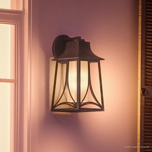 """Urban Ambiance Luxury Asian Outdoor Wall Light, Large Size: 18.5""""H x 8.5""""W, with Craftsman Style Elements, Airy and Simplistic Design, Beautiful Royal Bronze Finish and Light Amber Glass, UQL1082"""