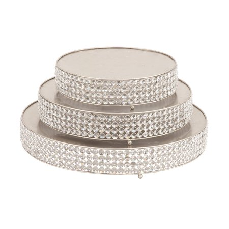 Decmode Set of 3 Modern 14, 18, 22 Inch Round Iron Cake Stands With Crystal Bead Accents, Silver](Silver Cake Stand)