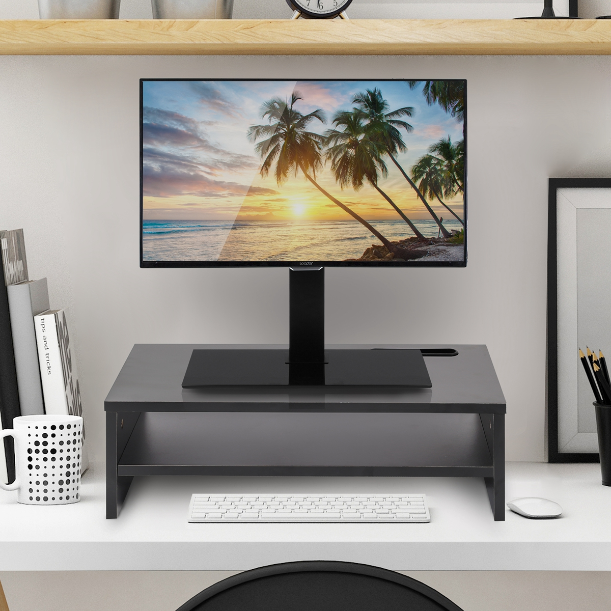 1/2 Layer laptopriser Desktop Monitor Stand Speaker Shelf Plinth TV LCD Laptop Screen Riser