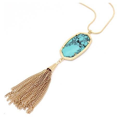 - Women Gold Plated Frame Vintage Turquoise Oval Stone Pendant with Tassel Long Chain Necklace