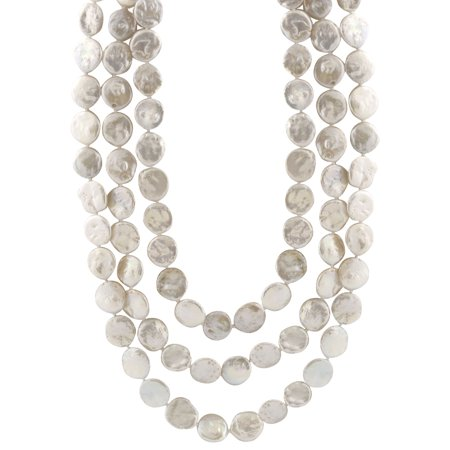 """Handpicked A Quality 14-15mm White Coin Freshwater Cultured Pearl Strand Endless 72"""" Necklace"""