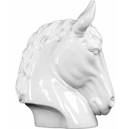 Urban Trends Collection: Ceramic Horse Head, Gloss Finish, White