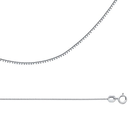 Box Chain Solid 14k White Gold Necklace Plain Square Links Polished Finish Thin Style, 0.6 mm - 16,18,20,22 inch
