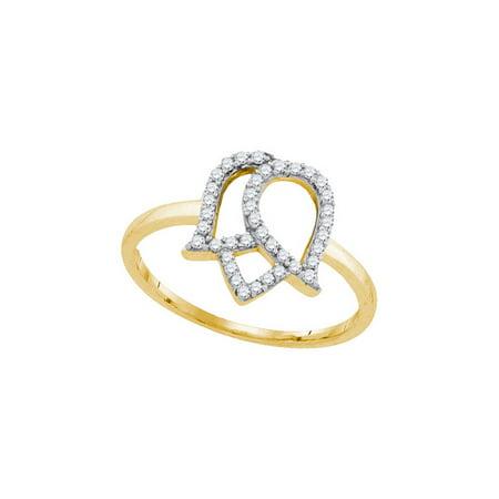 10K Yellow Gold 0.22ctw Fancy Shiny Pave Diamond Ladies Flower Fashion Ring