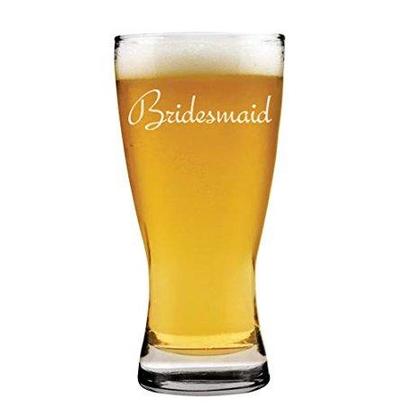 15 oz Beer Pilsner Glass Bridesmaid Bachelorette Wedding