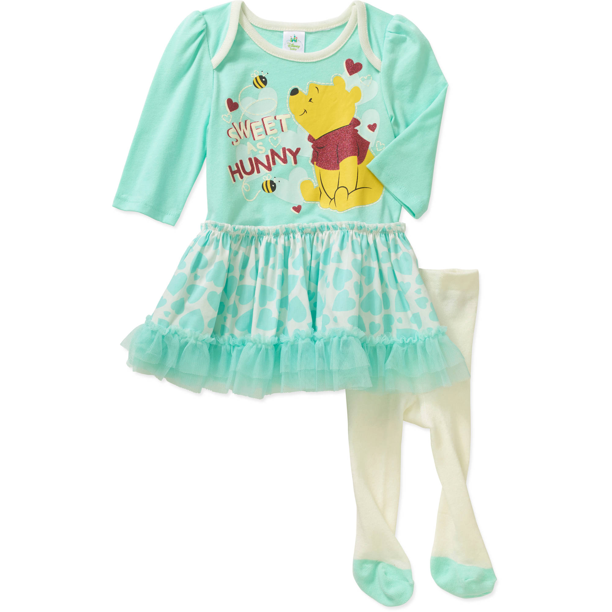 Winnie the Pooh Newborn Baby Girl Skirted Tunic & Leggings Outfit Set