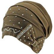 Luxury Divas Jersey Knit Slouchy Beanie Cap With Rhinestone Bow