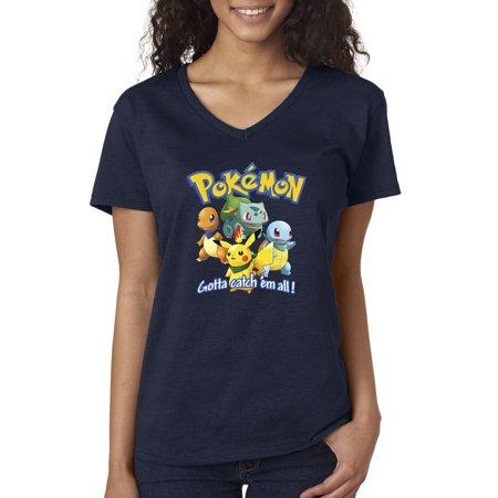 Allwitty 1118 - Women's V-Neck T-Shirt Pokemon Go Gotta Catch 'Em All