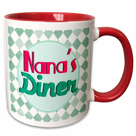 3dRose Nanas Diner sign on aqua - Retro hot pink turquoise teal blue 1950s 50s fifties Grandmas kitchen - Two Tone Red Mug, - 50s Diner Decorating Ideas
