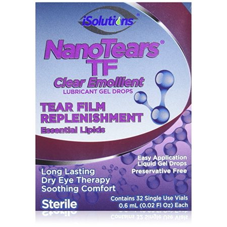 NanoTears TF Preservative Free Lubricant Gel Eye Drops, 32 Single Use Vials