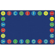"""Flagship Carpets Alphabet Circles Seating Rug - 12 ft Length x 90"""" Width x 0.50"""" Thickness - Rectangle - Multicolor"""