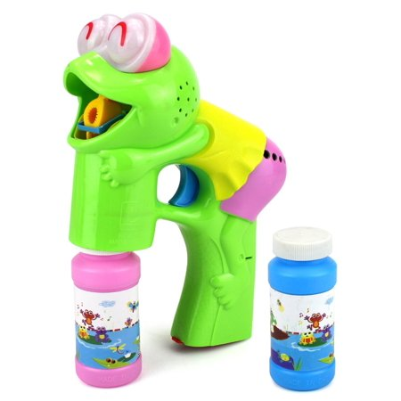 Fun Frog Battery Operated Toy Bubble Blowing Gun w/ 2 Bottles of Bubble Liquid - Frog Toys