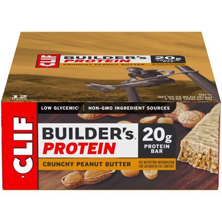 Muscle Builder Milkshake (Clif Bar - Builder's Protein Bars Box Crunchy Peanut Butter - 12 Bars )