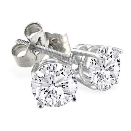 Our Finest 2ct Round Diamond Stud Earrings In Platinum G H Si Close To Ideal Cut