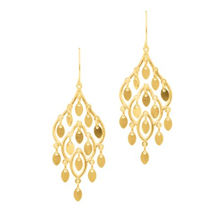 10K Yellow Gold Fancy Chandelier Drop Earrings with French Wire by IcedTime