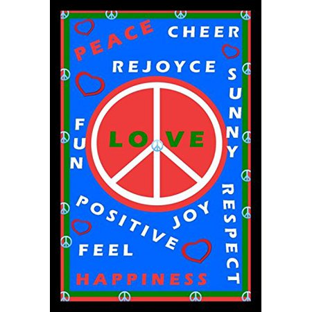 Buyartforless If Pda1007 18X12 1 25 Black Plexi Framed Peace Love Happiness Collage By David Zarinbuvitch 18X12 Art Print Poster Woodstock