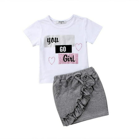 Infant Baby Girl 2Pcs Clothes Set Short Sleeve White T-Shirt+Ruffle Bodycon Skirt Outfit