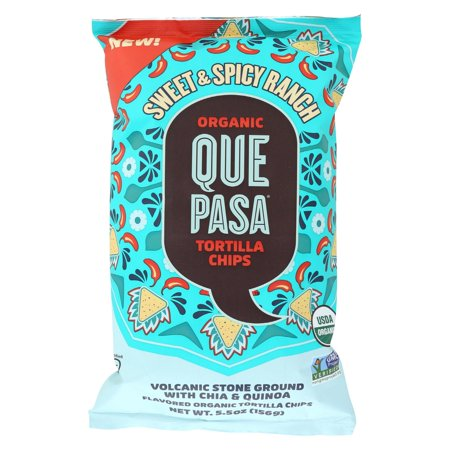 Que Pasa Tort Chips - Organic - Sweet & Spicy - Case of 12 - 5.5 oz ()