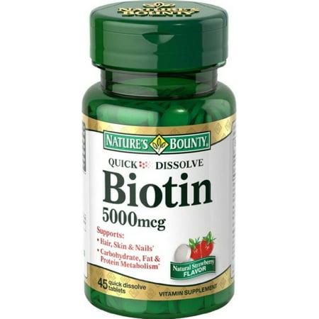 Natures Bounty Biotine 5000Mcg, Dissoudre rapide Comprimés pour l'énergie - 45 Ea