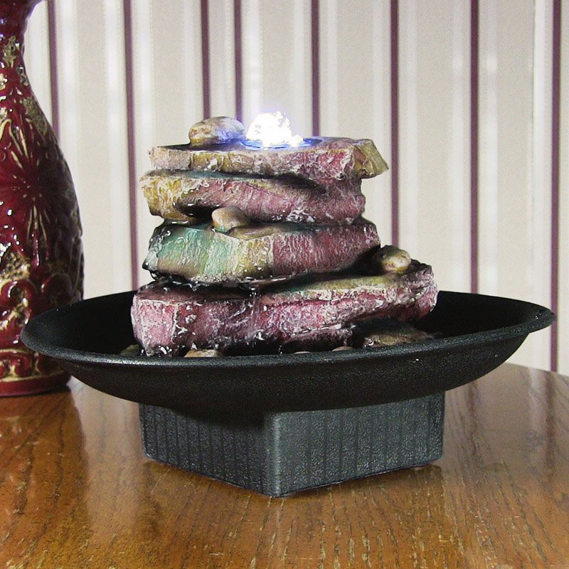 Sunnydaze Rock Garden Tabletop Water Fountain with LED Lights, 7 Inch Tall, Multi-Color