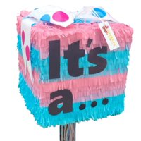 """""""It's a…"""" Gender Reveal Pull-String Pinata, Pink & Blue, 12in x 12in"""